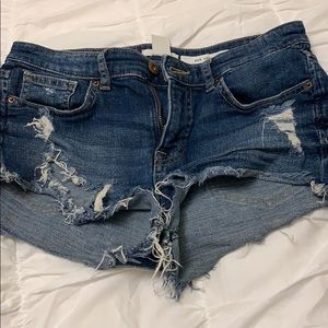 denim short shorts distressed ripped